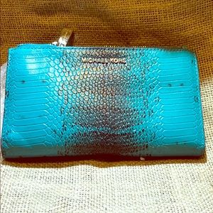 Brand new leather Michael Kors wristlet tile blue